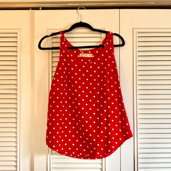 Faded Glory Tops - Faded Glory Red & White Polka Dot Top